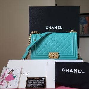 Chanel boy tiffany blue calfskin gold hardware bag